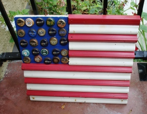Bottlecap and corrugated metal flag