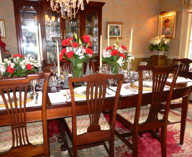 Stunning dining room floral arrangements.