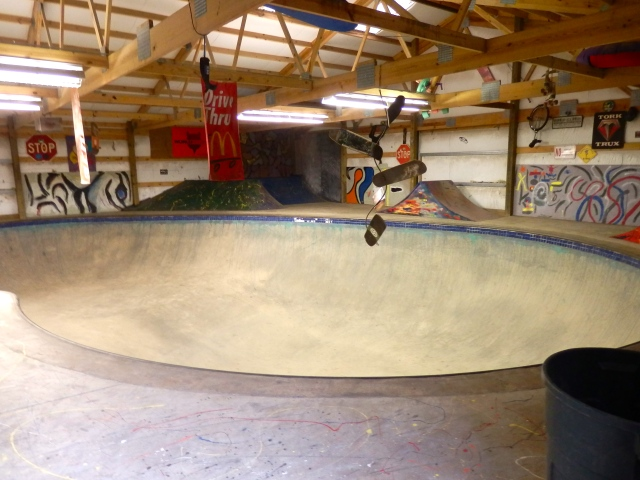 Half of the skateboard room.